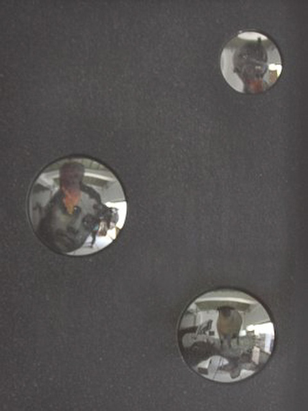 Unresolved Arturo Sanchez Jr., Convex Mirror, collage and acrylic, 12 x 9 in, 2011