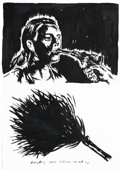 Luger Allan Balisi ,ink on paper, diptych, 2010