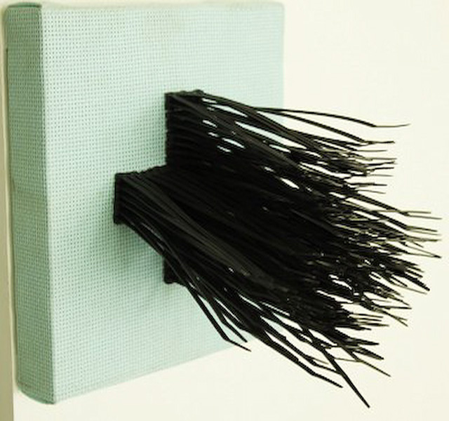 Act of Deliverance, Erik Sausa, cable tires on embroidery cloth, 9 x 9 in (Diptych), 2011