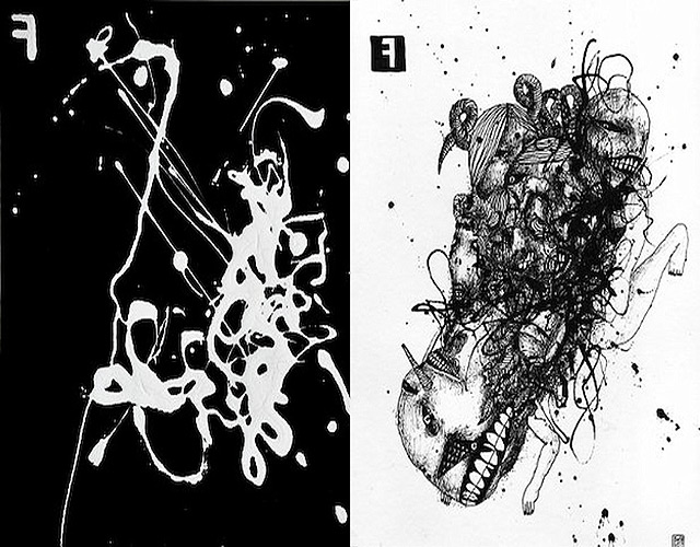 Ascension (left) and Crucifixion (right), Dave Lock, pen and ink, 9.5 x 12 in, 2011