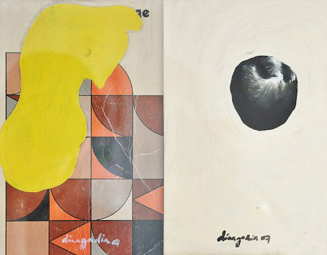 Fine Art (left) and Rejoice 4 Men (right), Dina Gadia, Acrylic on Paper, 2007