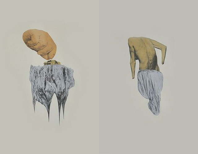 Where Roads Run to the Ocean and the Ocean Runs Forever  (left) and Woman Dances Self to Death (right), Jacob Lindo, graphite on paper, 10.5 x 13 in, 2011