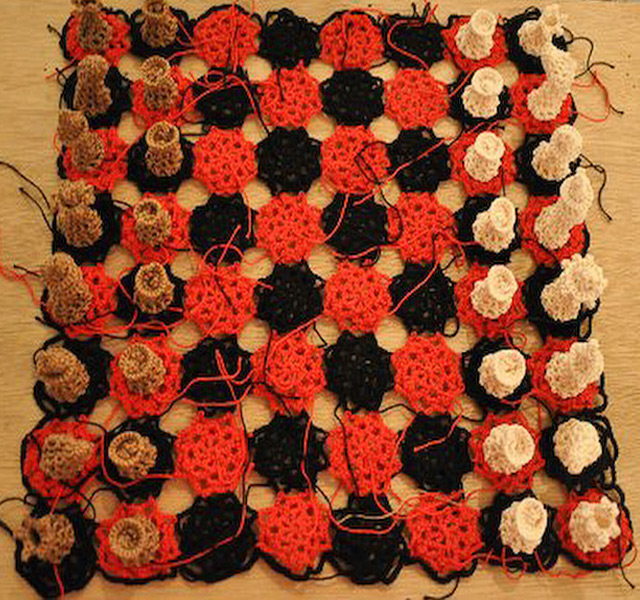 Soft Chess Set 2 Mica Cabildo, Cotton Crochet Yarn, Chessboard 13 x 13 in, 2011
